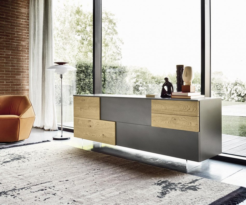Exklusives Livitalia Design Sideboard Incontro matter Lack Dunkelgrau Eiche Echtholz