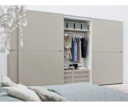Designer Kleiderschrank Novamobili Middle Weiß Matt mit offener Schiebetür