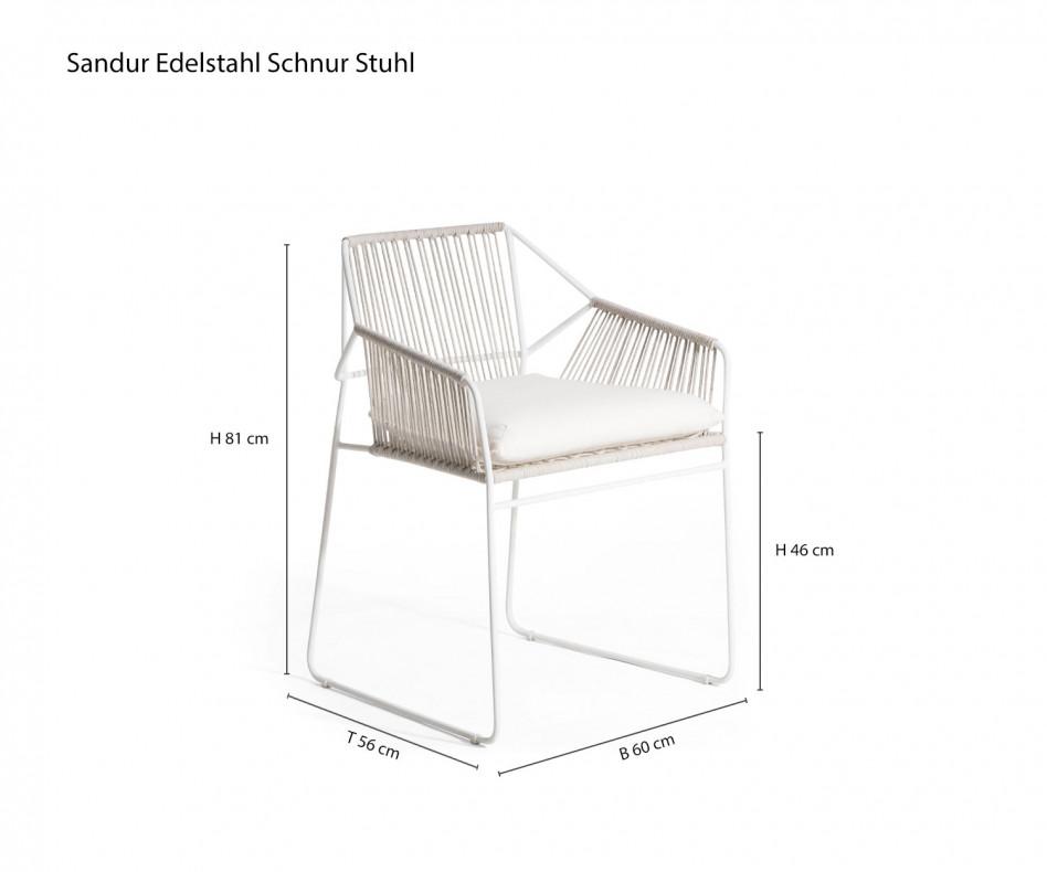 Wetterfester Oasiq Sandur Gartenstuhl ohne Armbespannung Posterauflage Weiß Gestell Weiß