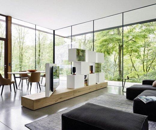 Moderne Livitalia Raumteiler Design Wohnwand C46 in Eichenfurnier und Weiß Matt lackiert