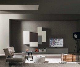 Moderne Wohnzimmer Design Hängeschranke Grau in verschiedenen Höhen