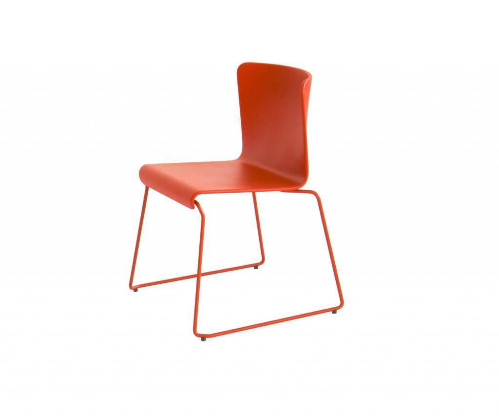 spHaus Lisbon Stuhl Chair rot Holz lackiert matt