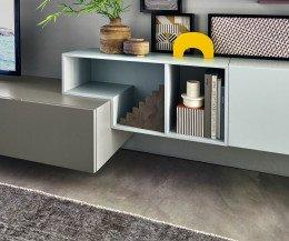 Moderne Tetris Design Wohnwand C19 mit offenen Elementen im Detail