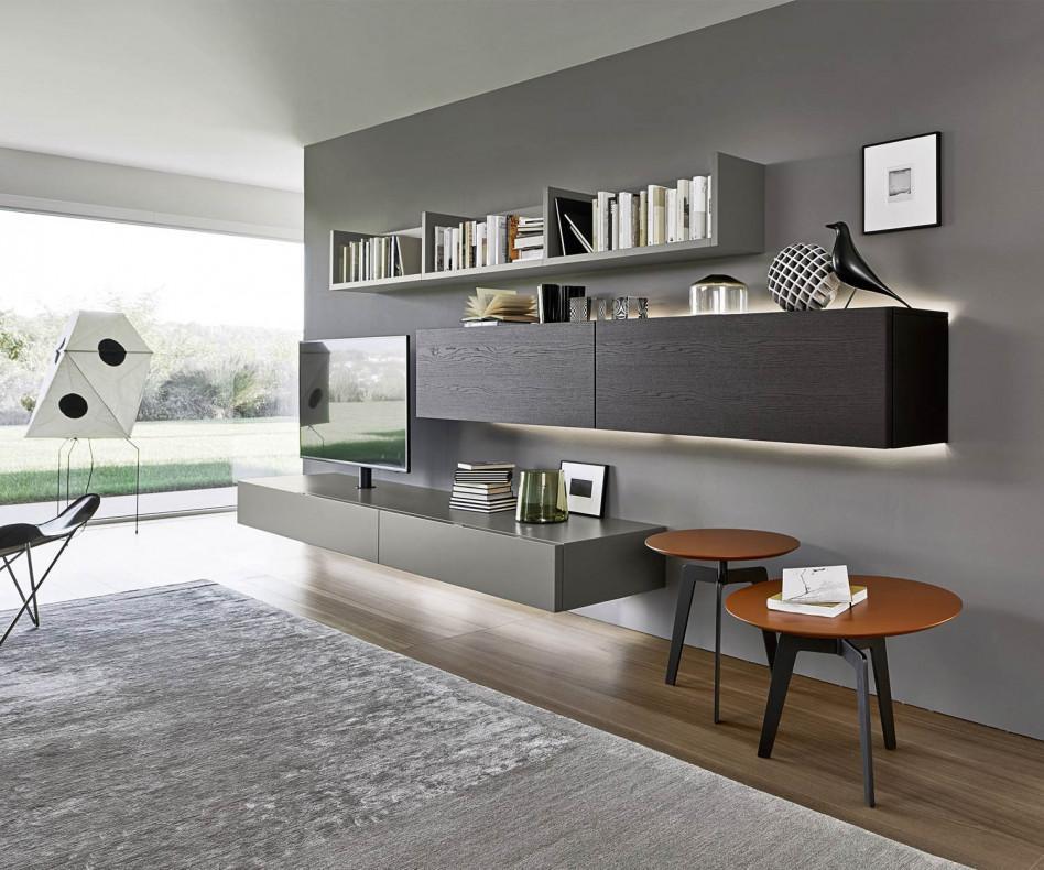 Wohnwand schwebend  Livitalia Wohnwand C50 mit integrierter Säulen TV Halterung