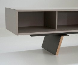 Hochwertiges al2 e-klipse 005 Design TV Lowboard Detail mit offenem Fach