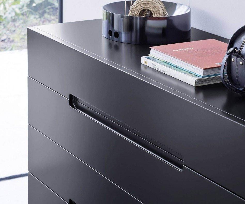 Exklusive Novamobili Float Design Kommode auf blauen Füßen in Schwarz
