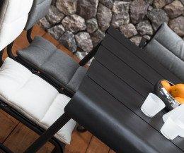 Moderner Oasiq Corail Aluminium Stuhl Gartenstuhl Detailfoto Sitzkissen