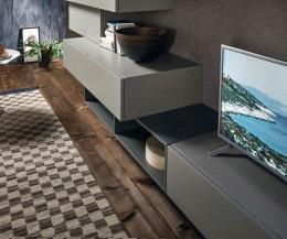 Schwebende Design Wohnwand mit TV Board