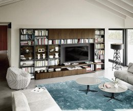 Modernes Livitalia Design Bücherregal C58 mit Glastüren