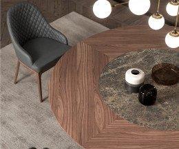 Design Esstisch Detail runde Tischplatte mit Nussbaum Emperador Glas Keramik