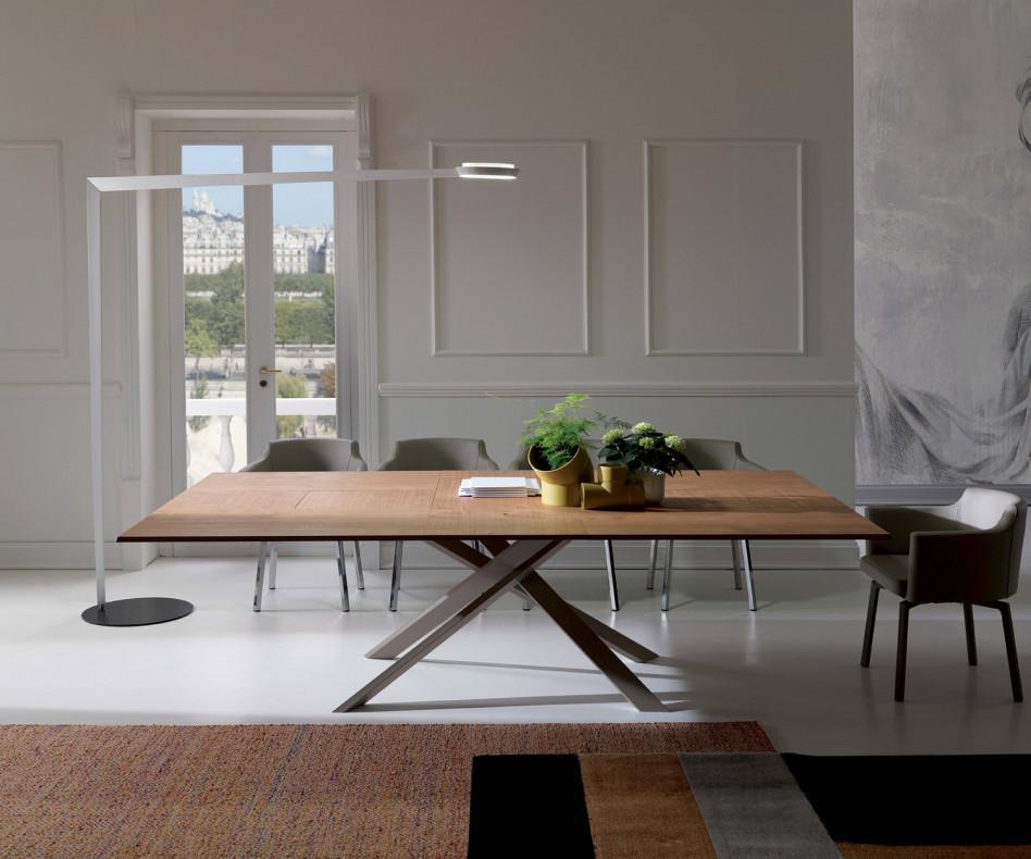 ozzio 4x4 eckiger esstisch zum ausziehen mit holzplatte. Black Bedroom Furniture Sets. Home Design Ideas