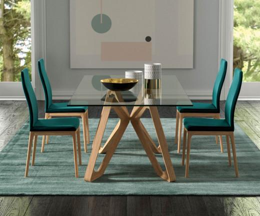 Exklusiver Ozzio Papillon Design Glastisch T253 Beine Massivholz in heller Eiche natur