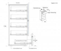 Livitalia Tacca Design Hochkommode Skizze Abmessungen Maße Größen
