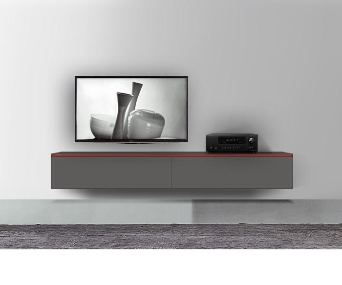 tv board lowboard city korpus in schwarz matt fronten in grau hochglanz smash. Black Bedroom Furniture Sets. Home Design Ideas