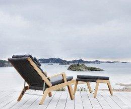 Exklusiver Oasiq Skagen Design Liegestuhl mit grauer Polsterauflage