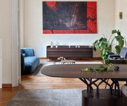 Moderner al2 Design Esstisch Teilansicht Panorama vom Esszimmer ins Wohnzimmer