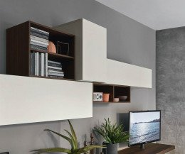 Moderne Livitalia Design Wohnwand C52 im Detail die hellgrauen Hängeschränke