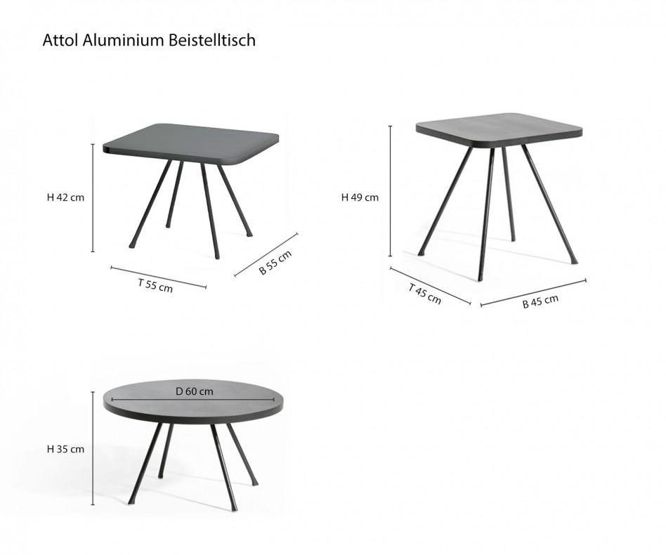 Moderner Oasiq Attol Aluminium Designer Beistelltisch am Pool mit Sesseln