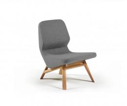 Hochwertiger Prostoria Design Sessel Oblique in Hellgrau von der Seite