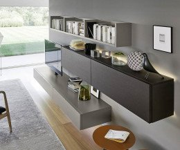 Hochwertige Livitalia Design Wohnwand C60 mit LED Beleuchtung