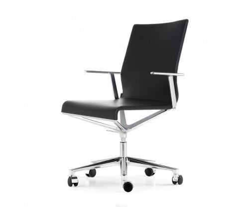 Design Bürostuhl Aluminium ICF Stick ETK Chair Schwarz Leder mit Rollen