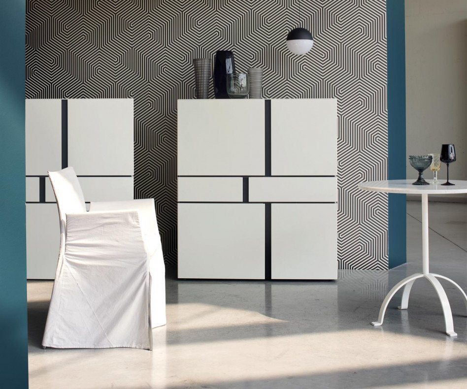 Exklusives Livitalia Abaco Design Highboard Weiß Matt