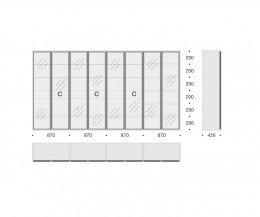 Hochwertiges Livitalia Bücherregal mit Glastüren C63 Skizze Maße Größen
