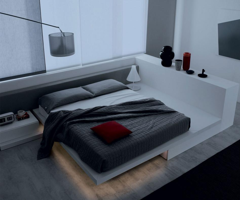 novamobili bett square mit led beleuchtung. Black Bedroom Furniture Sets. Home Design Ideas