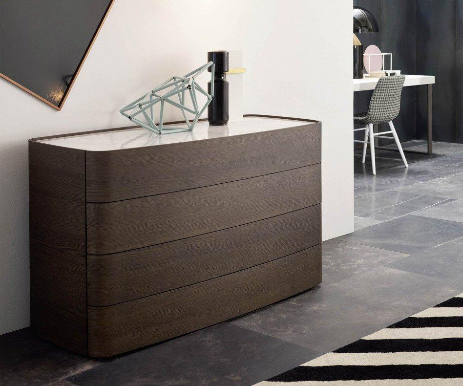 Moderne Novamobili Design Kommode Norman 4 Schubladen Eiche dunkel erdfarben