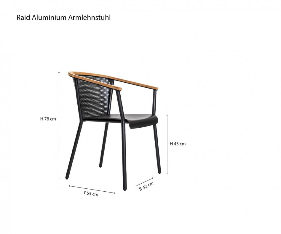 Exklusiver Oasiq Riad Design Armlehnenstuhl mit Teak und Aluminium Gestell
