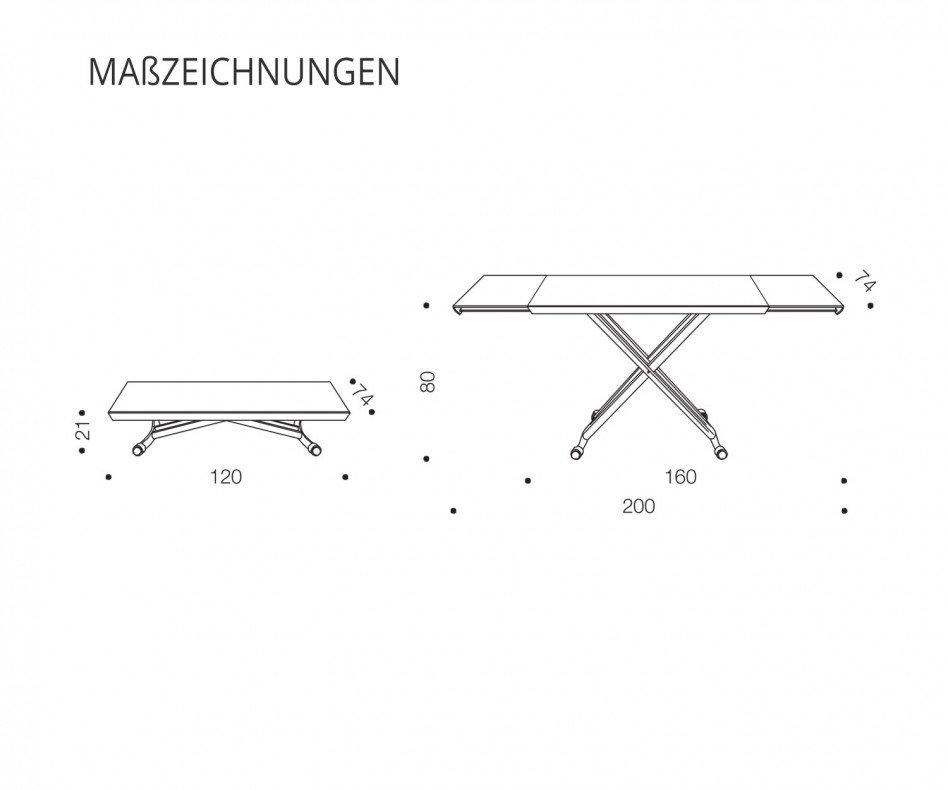 Ozzio Magic Couchtisch T100 CR01 höhenverstellbar