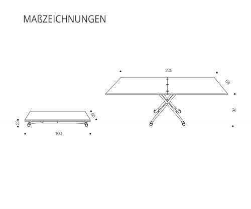 Ozzio Sydneylong Tisch Skizzenzeichnung
