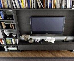 Modernes Design Bücherregal C54 mit TV Modul Eiche Grau