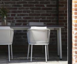 Moderner Todus Condor Design Gartentisch in Weiß mit HPL Tischplatte