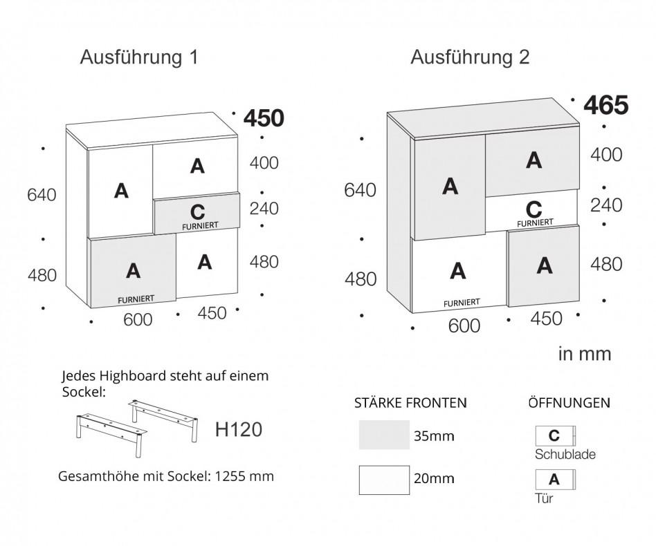 Exklusives Livitalia Design Highboard Incontro mit Schubladen und Türen ohne Griffe