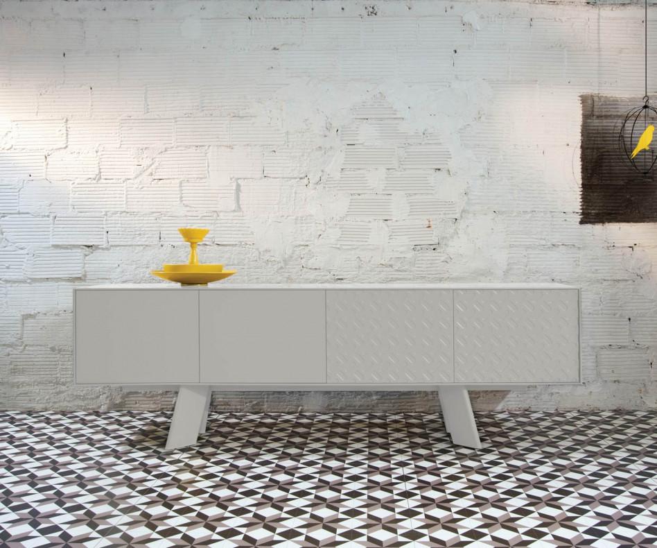 Exklusives al2 Design Sideboard Alhambra B 240 cm in weißem Korpus und weißem Gestell