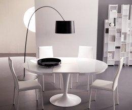 Ozzio Tisch rund Eclipse Weiß Glas aisgezogen