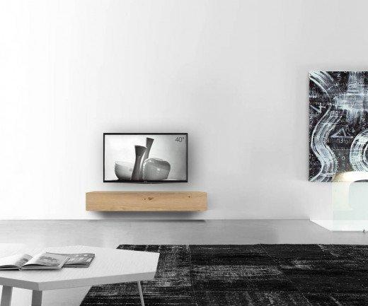 Livitalia Holz Lowboard Konfigurator Wand 150 cm 24 cm 46 cm Eiche hell