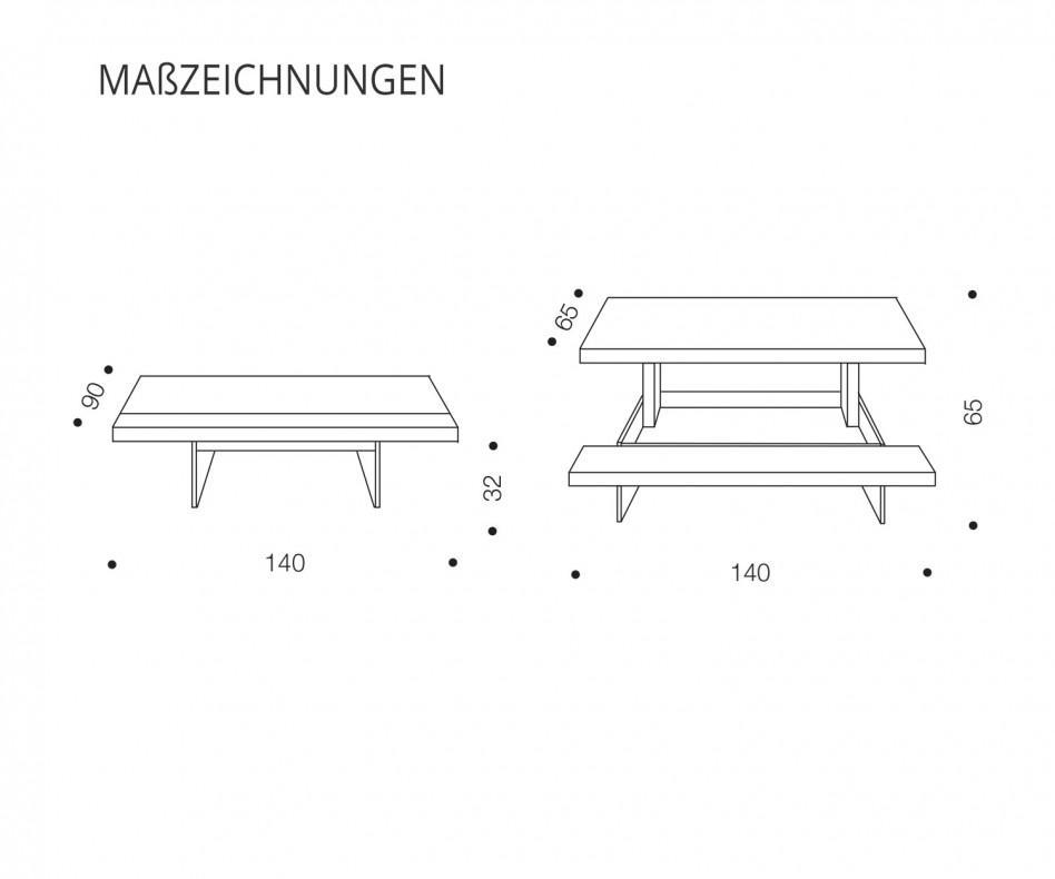 Höhenverstellbarer Ozzio Couchtisch Markus T063