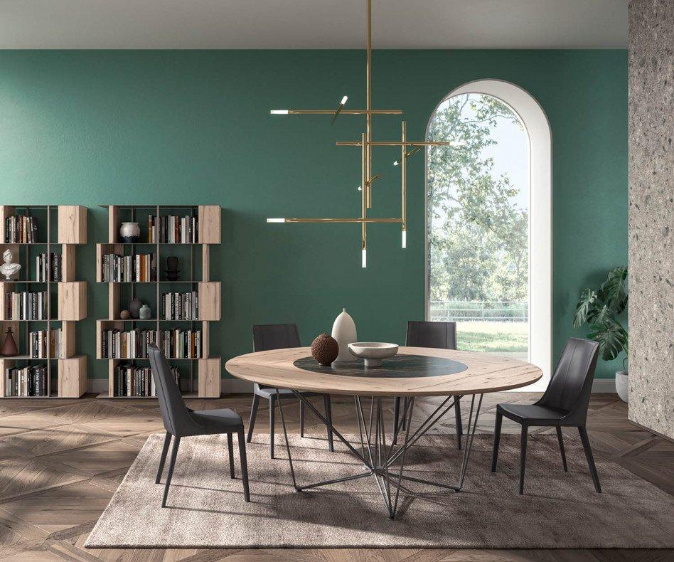 Ozzio Design Esstisch rund Grant T249 mit drehbarer Tischplatte