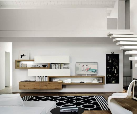 Charmant Schwebende Design Wohnwand C25