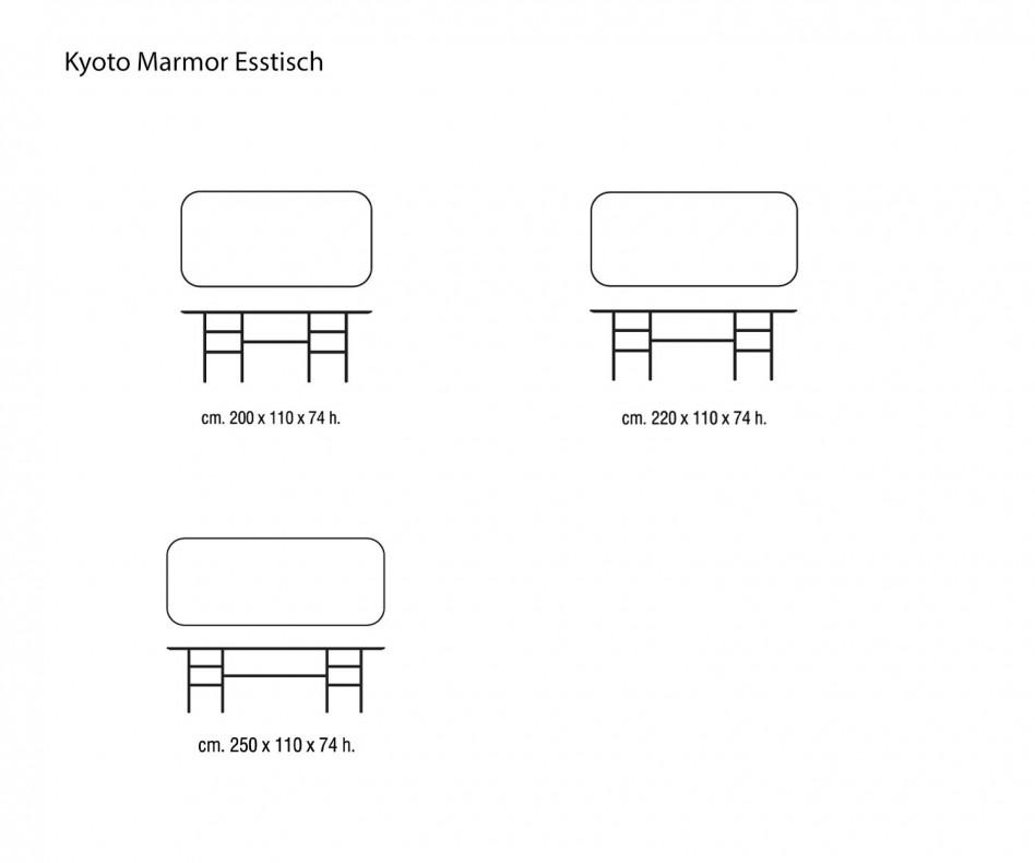 Edler Marelli Kyoto Design Esstisch Calacatta Marmor Tischplatte Panorama Ansicht