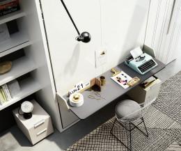 Schrankbett mit Schreibtisch