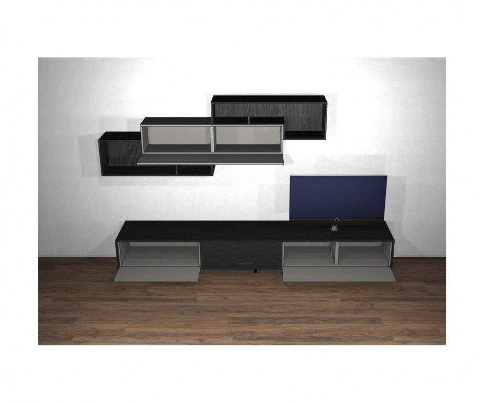Exklusive Livitalia Design Wohnwand C18 in Grau mit Holzoptik TV Lowboard
