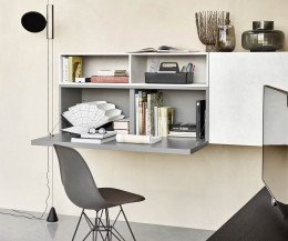 Hochwertige Livitalia Design Wohnwand C51 mit Schreibtisch in Grau Matt lackiert