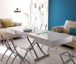 Design Couchtisch Weiß Hochglanz Glas Höhenverstellbar Tafel