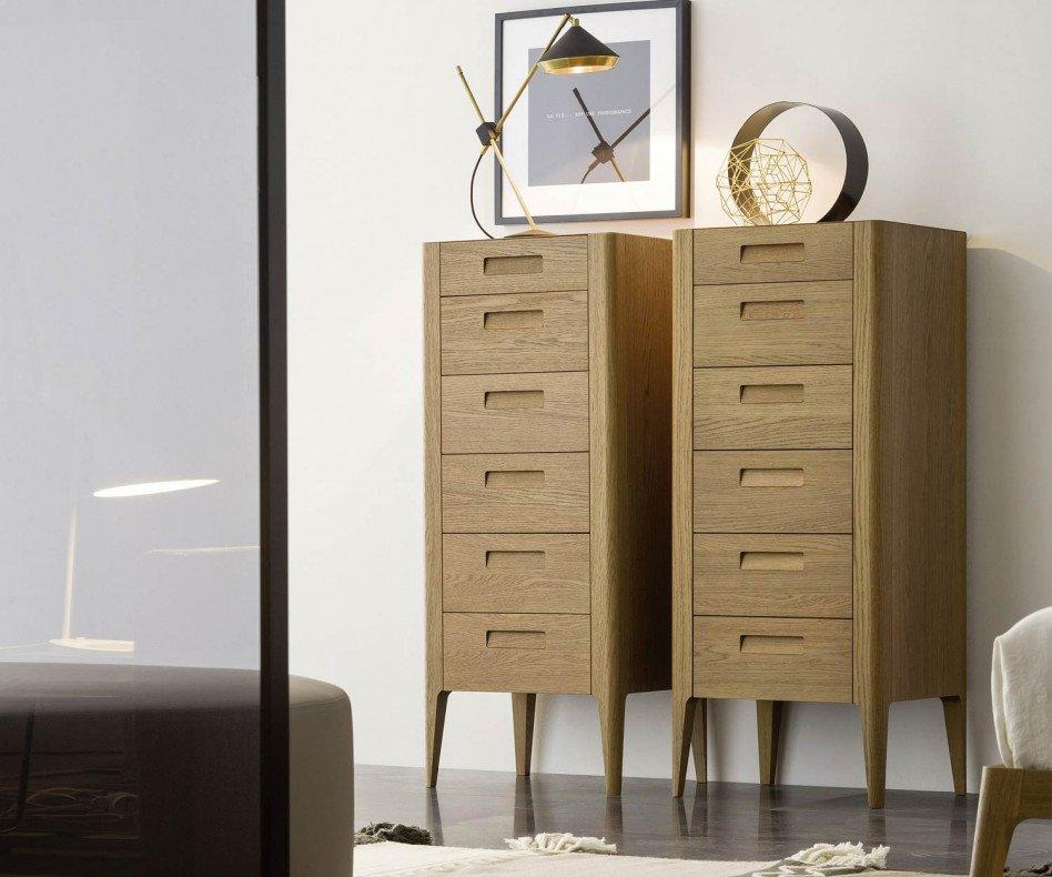 Novamobili Design Hochkommode Giotto 6 Schubladen Eiche hell Honig Detail