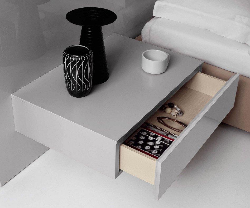 Novamobili Nachttisch Easy 1 Schublade detail hellgrau glänzend