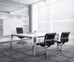 ICF P80 Meetingtisch Buero  Chrom Weiss 160x160cm