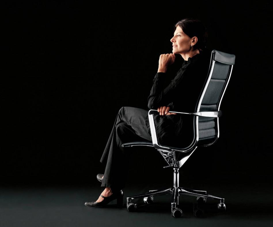 ICF Una Chair Management Bürostuhl Leder Polsterung Aluminium Armlehnen